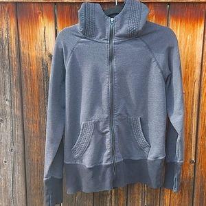 Warehouse Grey and black zippered hoodie